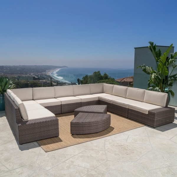 Santa Cruz Outdoor 12 Piece Brown Wicker Sofa Set With Cushions By  Christopher Knight Home   Free Shipping Today   Overstock.com   17619786