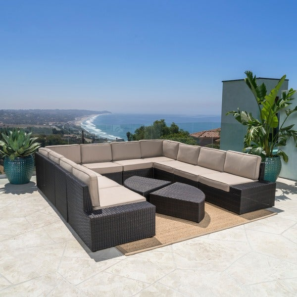 Santa Cruz Outdoor 12 Piece Brown Wicker Sofa Set With Cushions By