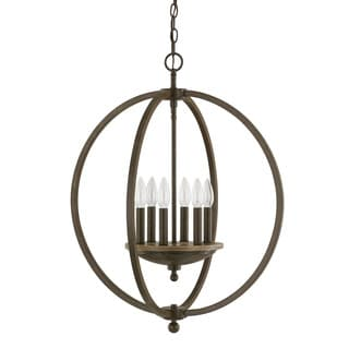 Capital Lighting Perry Collection 6-light Bronze and Oak Pendant