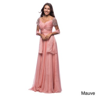 DFI Women's Long Twist Front Long Evening Gown with Jeweled Sleeve Embellishments