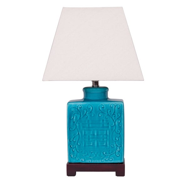 Teal Ginger Jar Lamp With Wooden Base Free Shipping Today 10538673