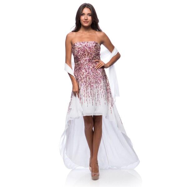 Shop DFI Women\'s Long High Low Sequin Dress - On Sale - Free ...