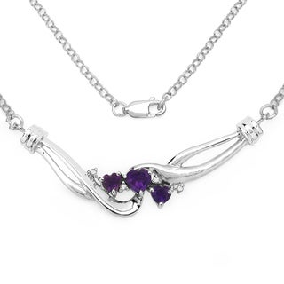 Malaika Sterling Silver 1ct Amethyst Diamond Accent Heart Shape Necklace