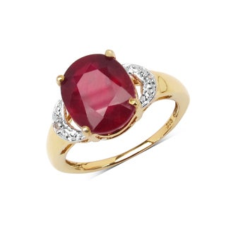 Malaika Sterling Silver 4ct Genuine Ruby and White Diamond Solitaire Ring