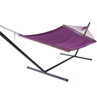 Jumbo Caribbean Hammock and Metal Tri-beam Stand Set