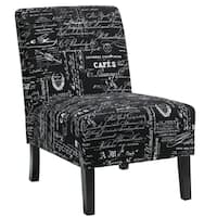 Palm Canyon Janis Black Script Fabric Armless Accent Chair