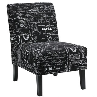 Cortesi Home Chicco Black Script Fabric Armless Accent Chair
