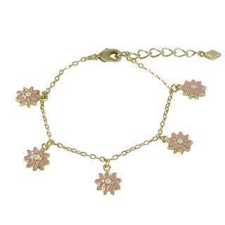 Luxiro Gold Finish Children's Pink Enamel Daisy Flower Charm Bracelet