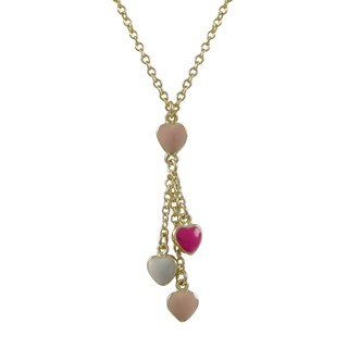 Luxiro Gold Finish Children's Multi-color Enamel Heart Tassel Necklace - Pink