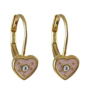 Luxiro Gold Finish Children's Crystal Enamel Heart Leverback Earrings