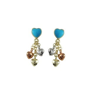 Luxiro Tri-color Gold Finish Children's Multi-color Enamel Heart Dangle Earrings