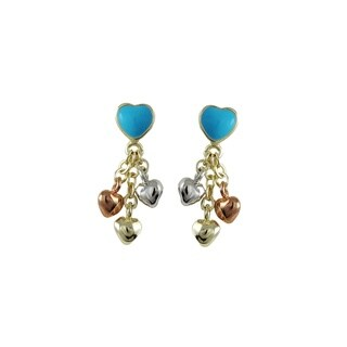 Luxiro Tri-color Gold Finish Children's Multi-color Enamel Heart Dangle Earrings