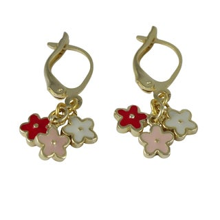 Luxiro Gold Finish Children's Multi-color Enamel Flower Dangle Earrings