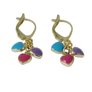 Luxiro Gold Finish Children's Multi-color Enamel Heart Dangle Earrings