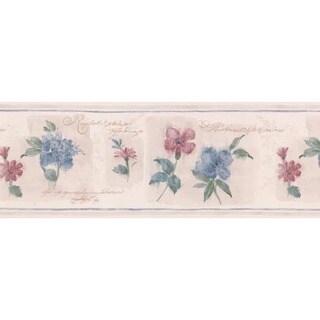 Blue Floral Block Wallpaper Border