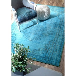 nuLOOM Vintage Inspired Overdyed Rug (8' x 10') in Turquoise (As Is Item)