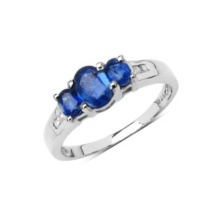 Malaika Sterling Silver 1 1/4ct Genuine Kyanite Diamond Accent Ring