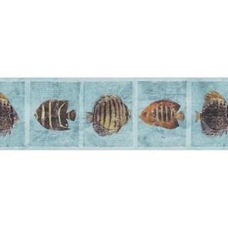 Blue Tropical Fish Wallpaper Border