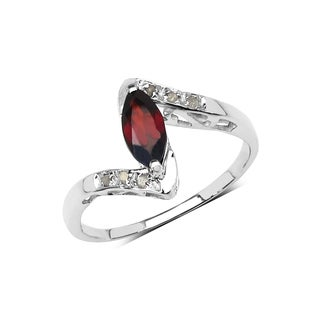 Olivia Leone Sterling Silver 4/5ct Garnet and 2/5ct TDW Diamond Ring