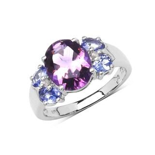 Olivia Leone Sterling Silver 3 1/3ct Genuine Amethyst Tanzanite and Diamond Ring