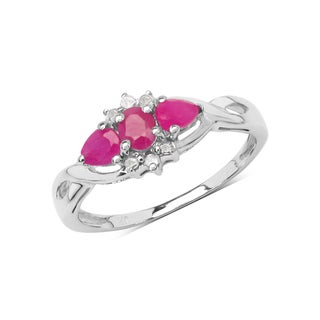 Olivia Leone Sterling Silver 3/4ct Genuine Ruby and Diamond Ring
