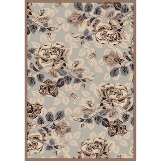 Couture Grey/ Brown Rose Garden Area Rug (5'3 x 7'7)