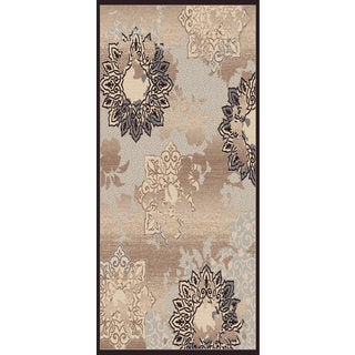 Couture Grey/ Black Patterned Flowers Area Rug (7'10 x 10'10)