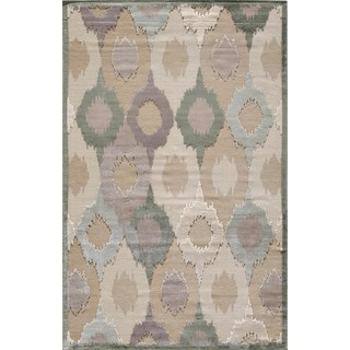 Couture Beige/ Green Feathered Circles Rug (2' x 3'5)