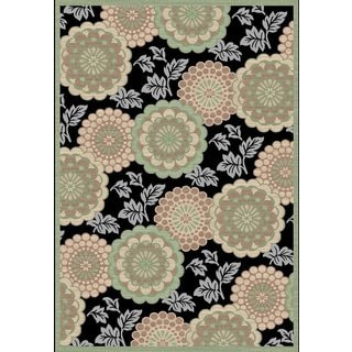 Couture Black/ Green Floral Motif Area Rug (2' x 3'5)