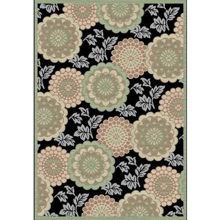 Couture Black/ Green Floral Motif Area Rug (2'7 x 4'11)