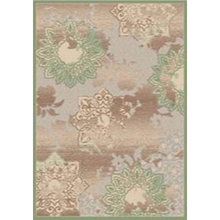 Couture Grey/ Green Patterned Flowers Area Rug (5'3 x 7'7)