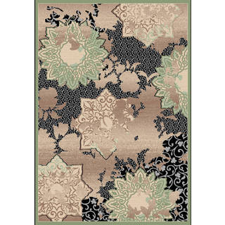 Couture Black/ Green Patterned Flowers Area Rug (5'3 x 7'7)