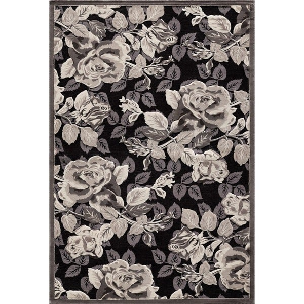 Couture Black Rose Garden Area Rug (5'3 x 7'7)
