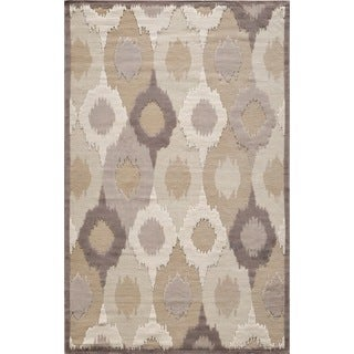 Couture Beige/ Brown Feathered Circles Rug (5'3 x 7'7)
