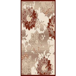 Couture Beige/ Red Patterned Flowers Area Rug (5'3 x 7'7)