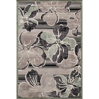 Couture Black Striped Floral Area Rug (5'3 x 7'7)