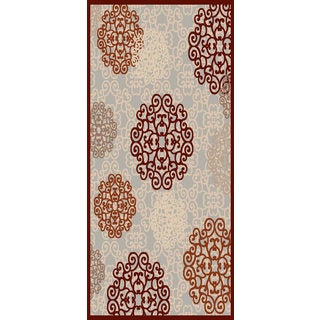 Couture Grey/ Red Scrollwork Circles Area Rug (6'7 x 9'6)