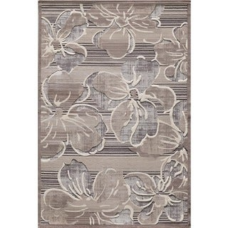 Couture Grey Striped Floral Area Rug (6'7 x 9'6)