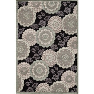 Couture Grey/ Black Floral Motif Area Rug (6'7 x 9'6)