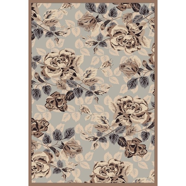 Shop Couture Grey Brown Rose Garden Area Rug Free Shipping Today