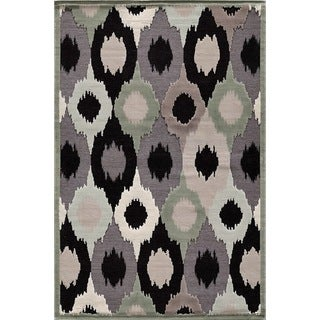 Couture Black/ Grey Feathered Circles Area Rug (7'10 x 1010)