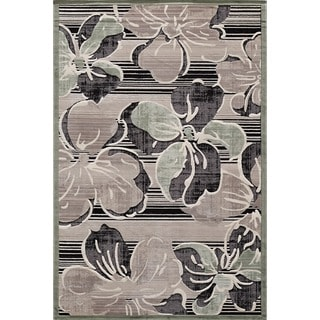 Couture Black Striped Floral Area Rug (7'10 x 10'10)