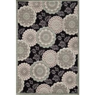 Couture Grey/ Black Floral Motif Area Rug (7'10 x 10'10)
