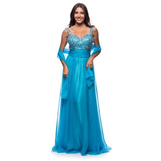 DFI Women's Evening Gown Metallic Beading