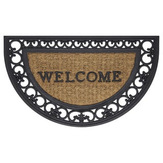 "Achim Rubber and Coir Fleur De Lis Welcome Mat (18"" x 30"")"