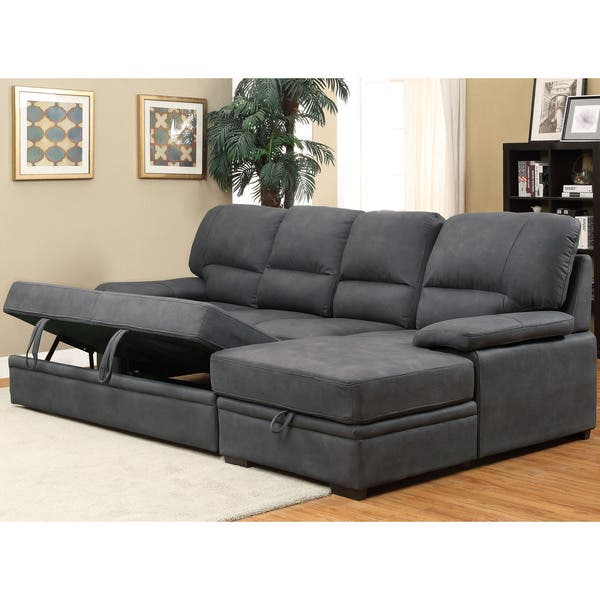 Miraculous Shop Delton Contemporary Nubuck Leather Sleeper Sectional By Ocoug Best Dining Table And Chair Ideas Images Ocougorg