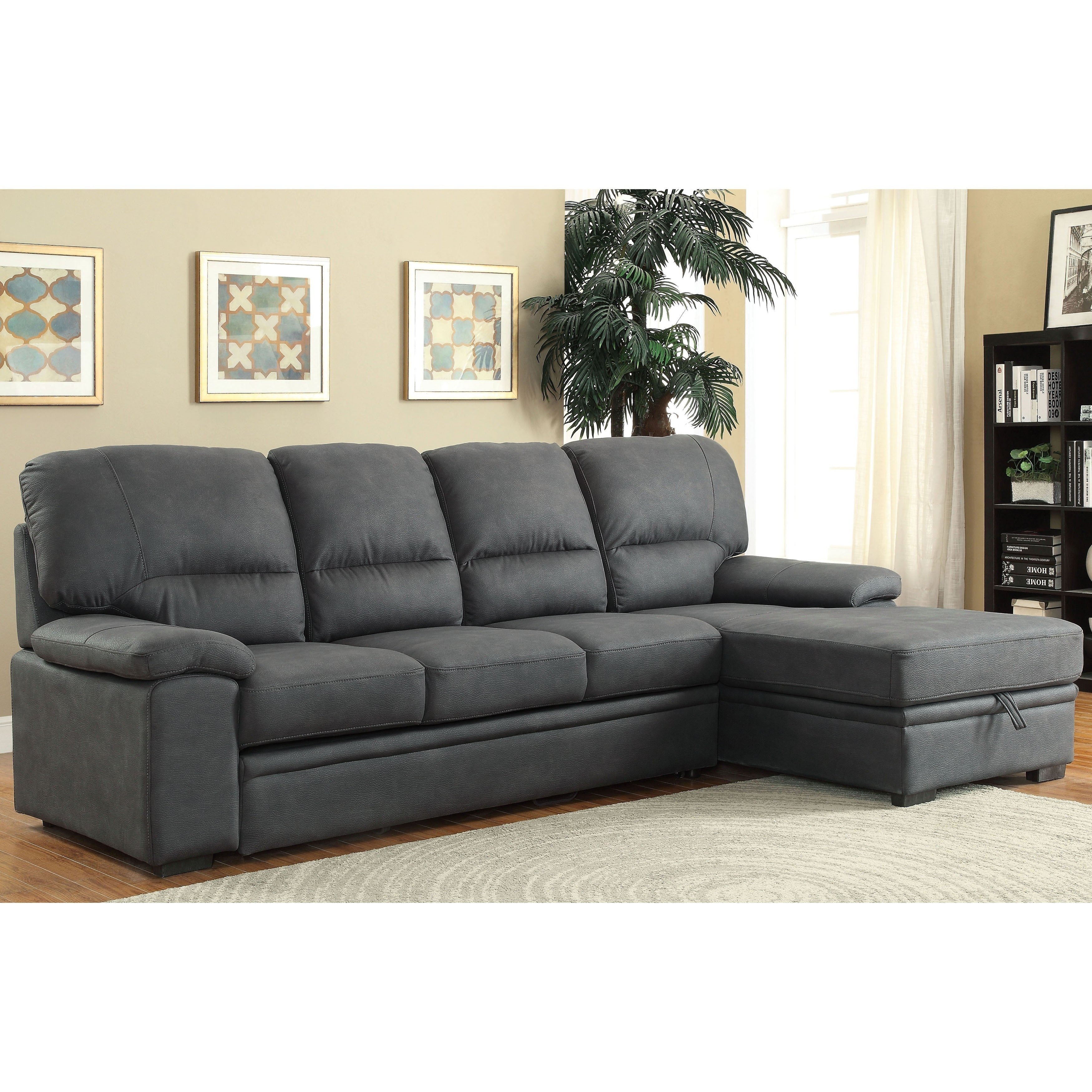 Ordinaire Furniture Of America Delton Contemporary Faux Nubuck Sleeper Sectional
