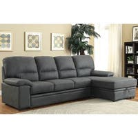 Furniture of America Delton Contemporary Nubuck Leather Sleeper Sectional
