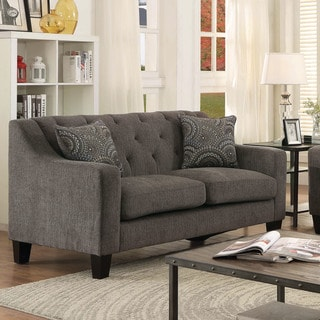 Furniture of America Bautise Contemporary Mocha Chenille Loveseat