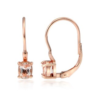 Glitzy Rocks 18k Rose Gold over Silver Morganite Round Leverback Earrings